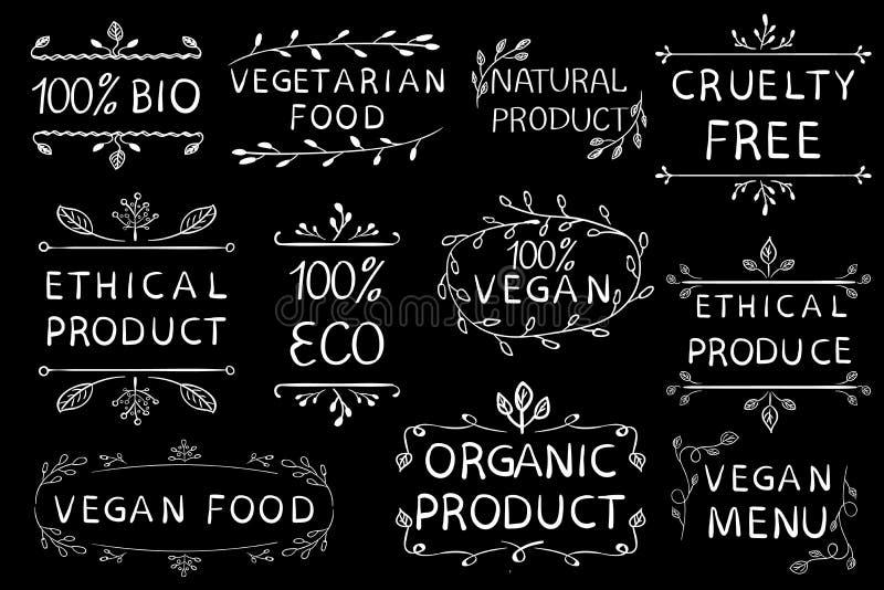 100 weganinów etyczny produkt cruetly uwalnia Roczników ręka rysujący elementy białe linie ilustracja wektor
