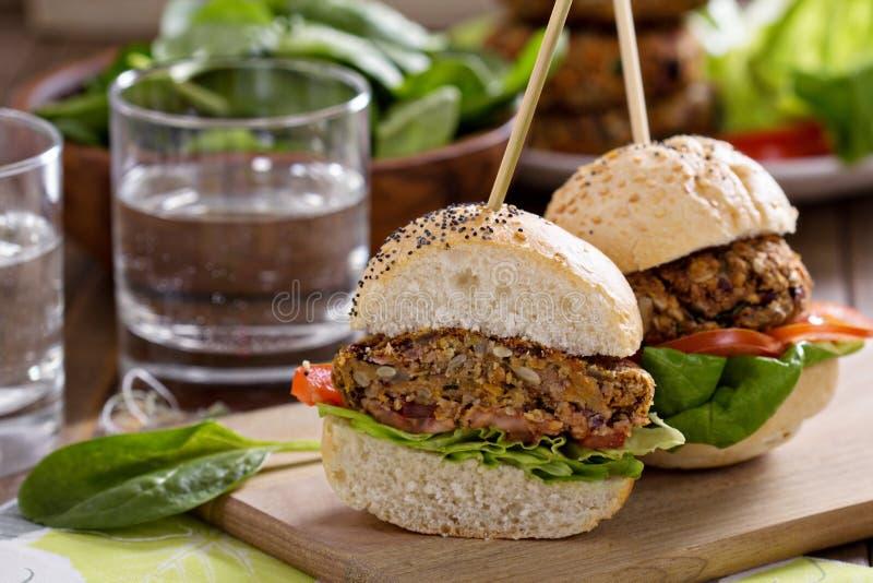 Weganinów hamburgery z fasolami i warzywami fotografia stock