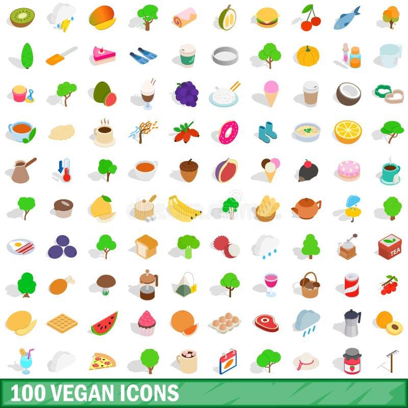 100 weganinów ikon ustawiających, isometric 3d styl ilustracja wektor