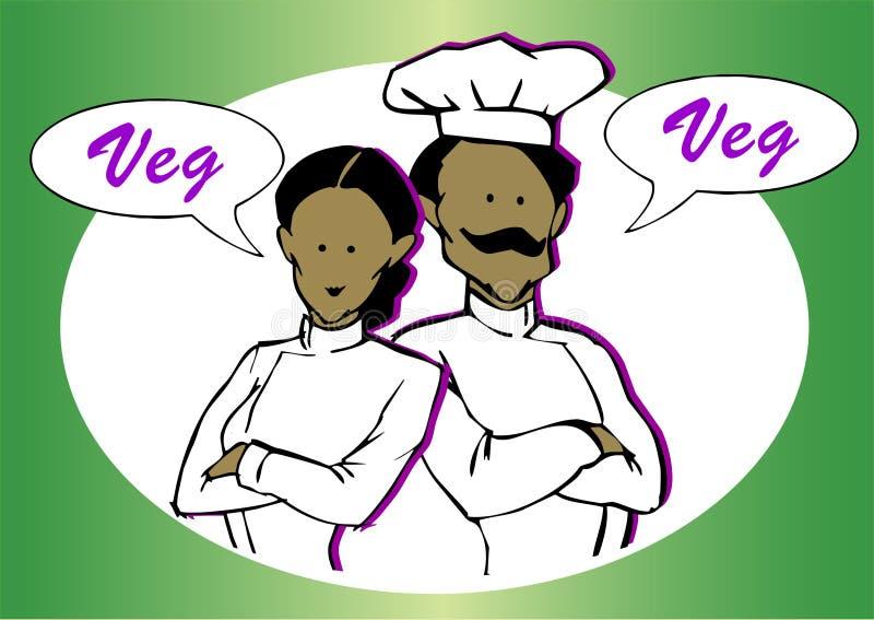 Weganin lub jarosza szef kuchni ilustracji