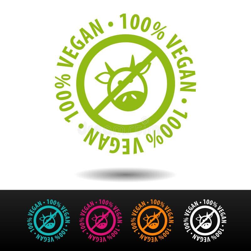 100% weganin odznaka, logo, ikona Płaska ilustracja na białym tle ilustracji