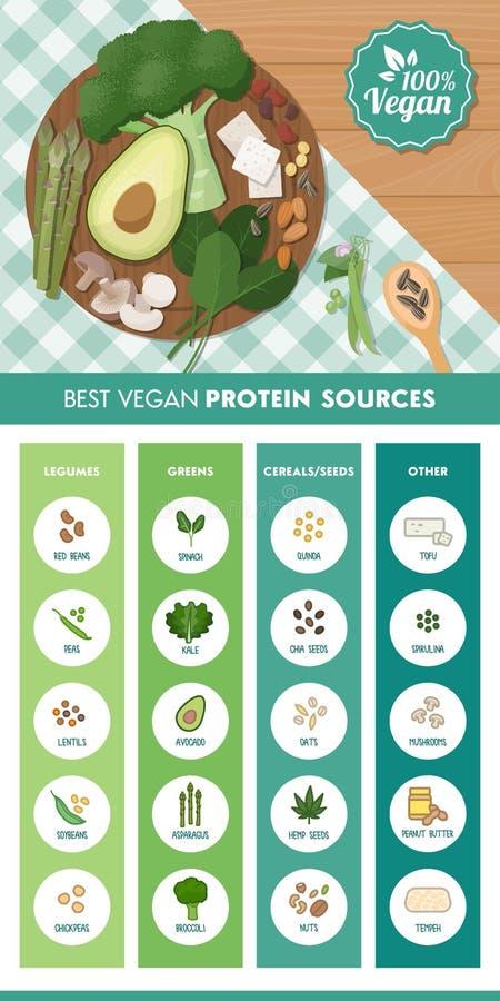 Weganin proteiny źródła ilustracja wektor