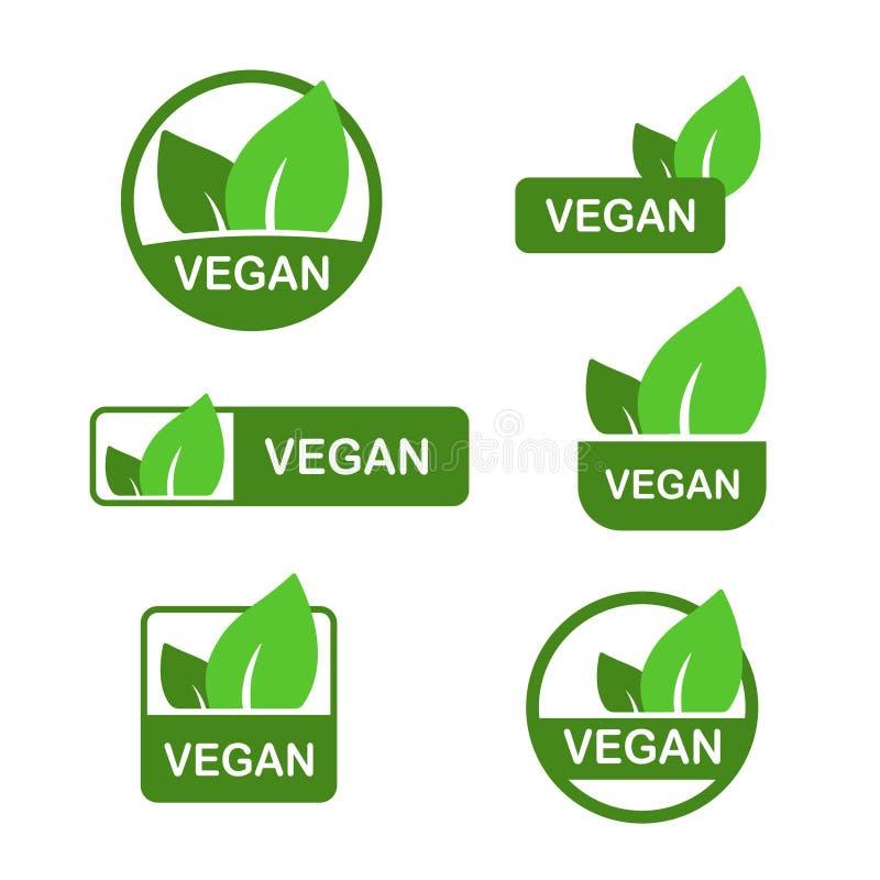 Weganin wektorowa ikona, życiorys eco znak, naturalnego odżywiania jarski pojęcie, surowy jedzenie Płaski projekta majcher odizol ilustracja wektor