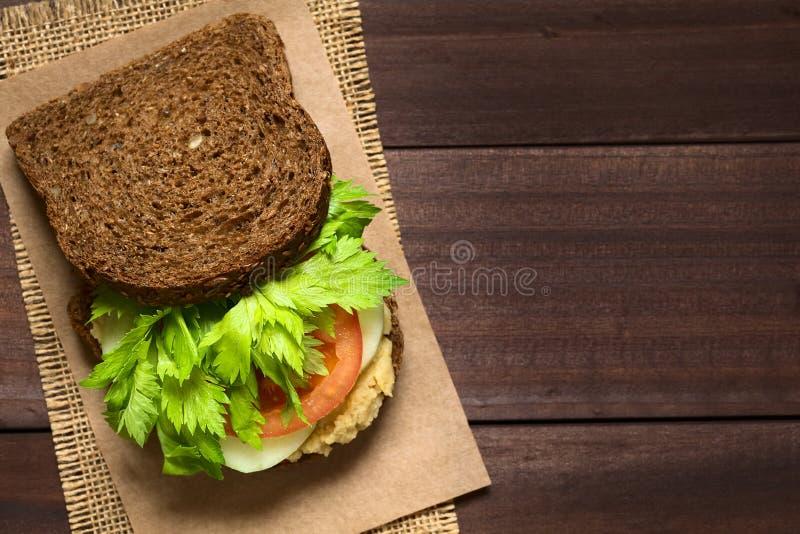 Weganin Wholegrain kanapka zdjęcie stock