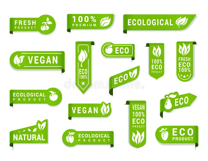 Weganin zieleni etykietki setu, organicznie i surowych warzywa, ilustracja wektor