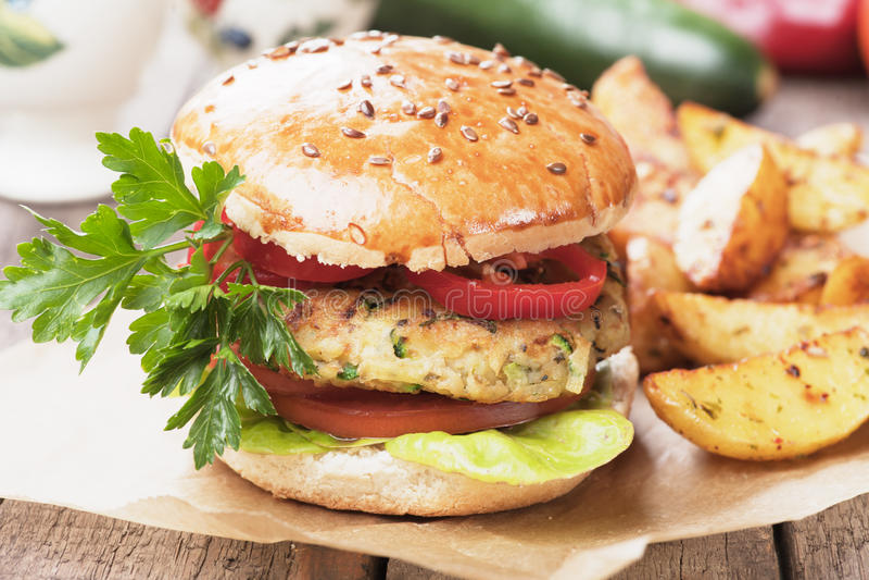 Weganinu hamburger obraz royalty free