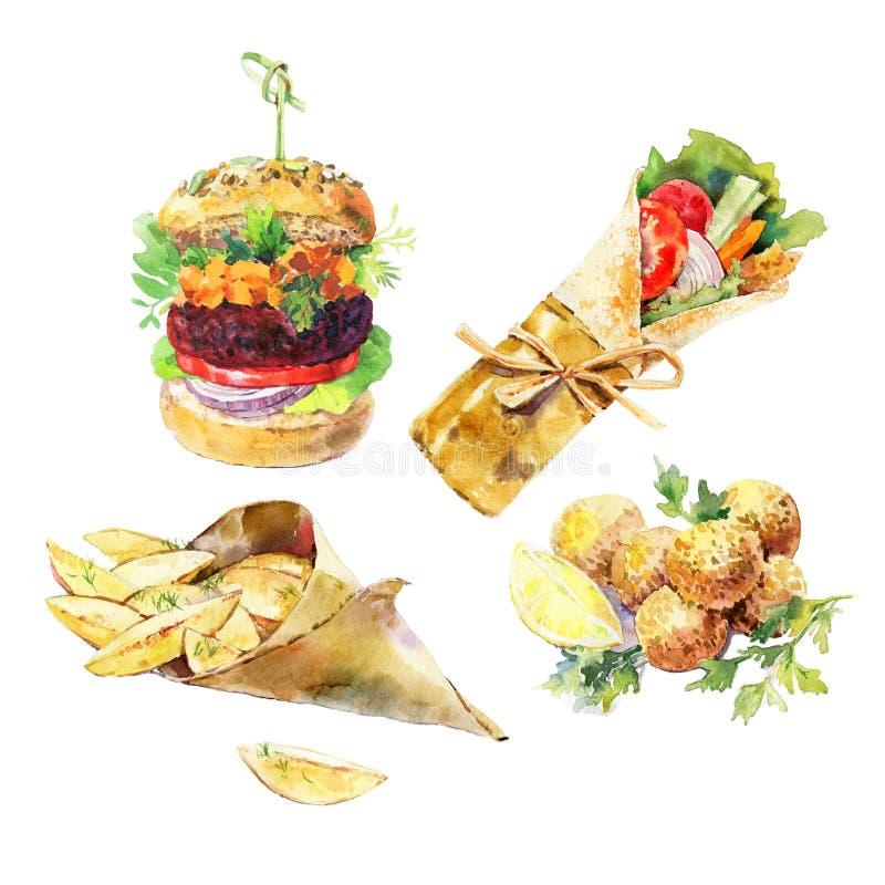 Weganinu hamburger, sawarma, falafel, podparta kartoflana akwarela odizolowywająca na białym tle Weganin ulicy jedzenie R?ka Malu royalty ilustracja