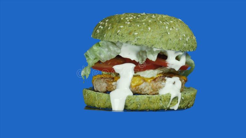 Weganinu hamburger z zieloną babeczką, zieleniami i warzywami na odosobnionym błękitnym tle w górę, zdjęcia stock