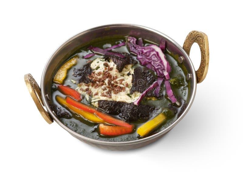 Weganinu i jarosza kuchni indyjski naczynie, korzenny ryż z warzywami fotografia stock