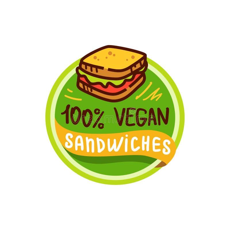 Weganinu jedzenia i kanapki logo menu wektor royalty ilustracja