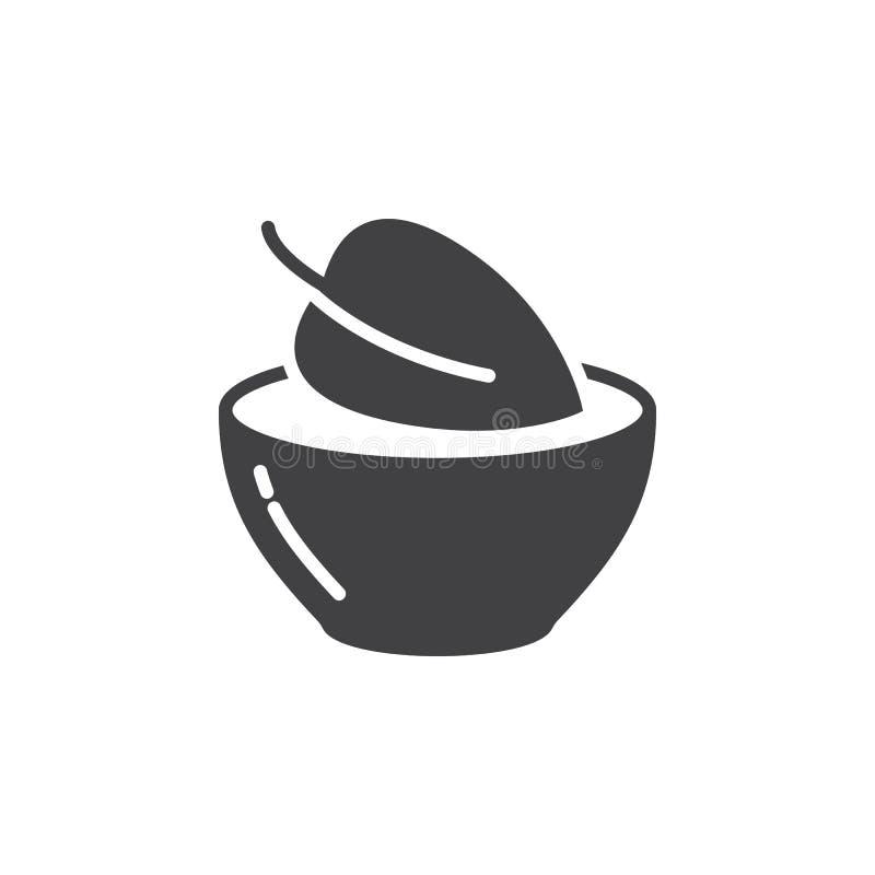 Weganinu jedzenia symbol Leaf w naczynie ikony wektorze, wypełniający mieszkanie znak, stały piktogram odizolowywający na bielu ilustracji