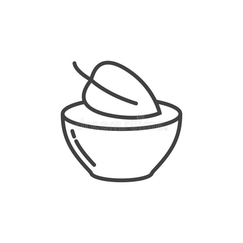 Weganinu jedzenia symbol Liść w naczynie linii ikonie, konturu wektoru znak, liniowy piktogram odizolowywający na bielu ilustracji