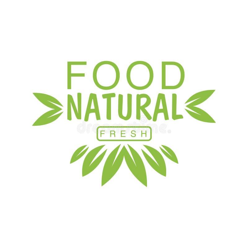 Weganinu jedzenia zieleni loga projekta Naturalny szablon Z koroną liście Promuje Zdrowego styl życia I Eco produkty royalty ilustracja