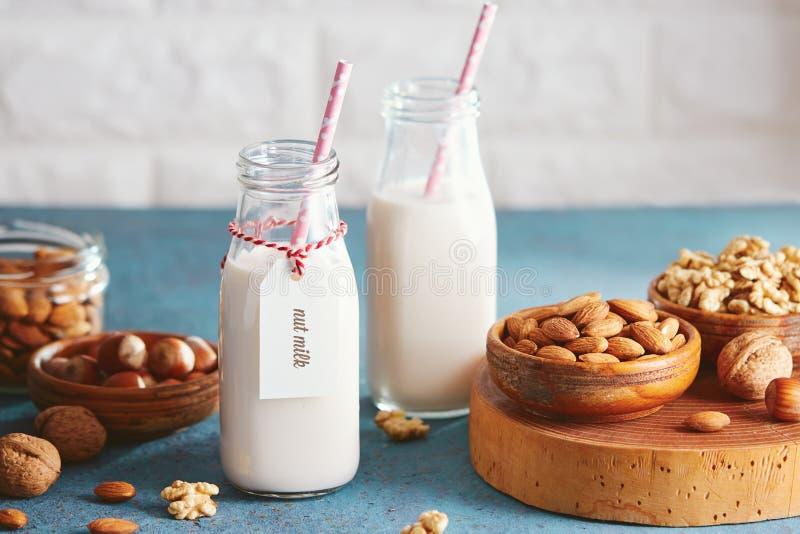 Weganinu nabiału zastępczy mleko z dokrętkami obrazy royalty free