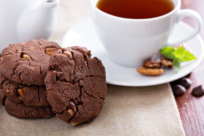 Weganinu pecan czekoladowi ciastka zdjęcie royalty free