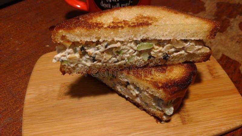 Weganinu tuńczyka kanapka na grzance fotografia stock