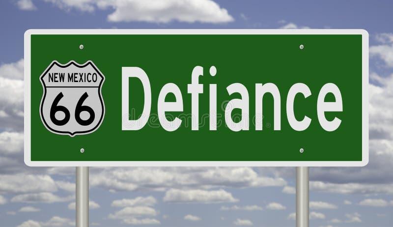 Wegbord voor Defiance New Mexico op Route 66 royalty-vrije stock afbeelding