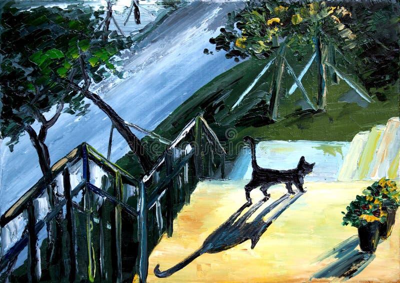 Wege der schwarzen Katze up die Treppe im Yard lizenzfreie stockbilder