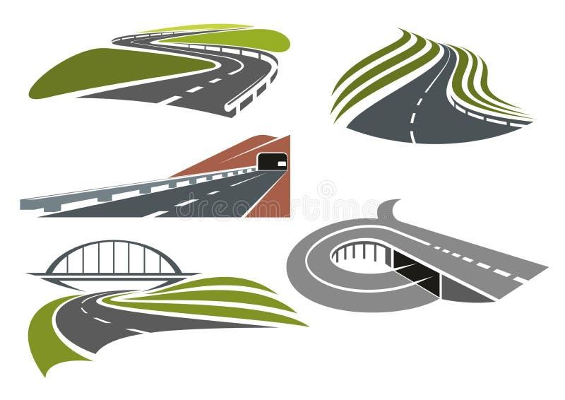 Wegen en geplaatste wegenpictogrammen stock illustratie