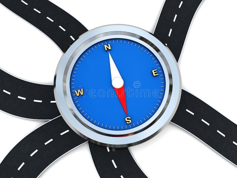 Wegen en kompas stock illustratie