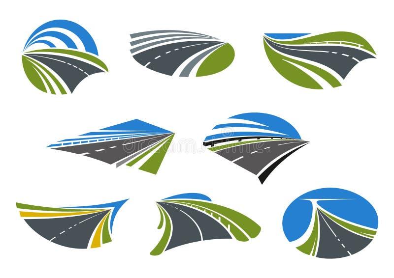 Wegen en van snelheidswegen pictogrammen royalty-vrije illustratie