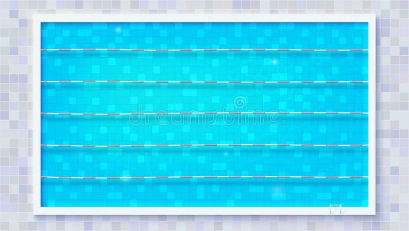 Wegen voor onderdompeling in de pool, hoogste mening Blauw gescheurd water in Olympische sportpool De textuur van het water en ce stock illustratie
