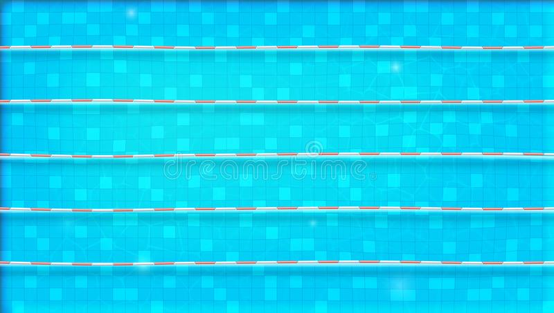 Wegen voor onderdompeling in de pool, hoogste mening De textuur van water in zwembad, legt vlak mening Bezinning over de waterspi stock illustratie