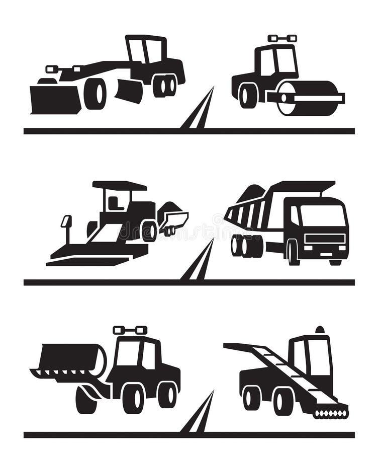 Wegenbouwmachines royalty-vrije illustratie