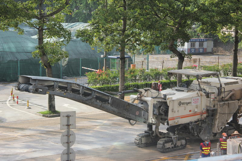 Wegenbouwmachines in SHENZHEN CHINA AZIË stock foto's