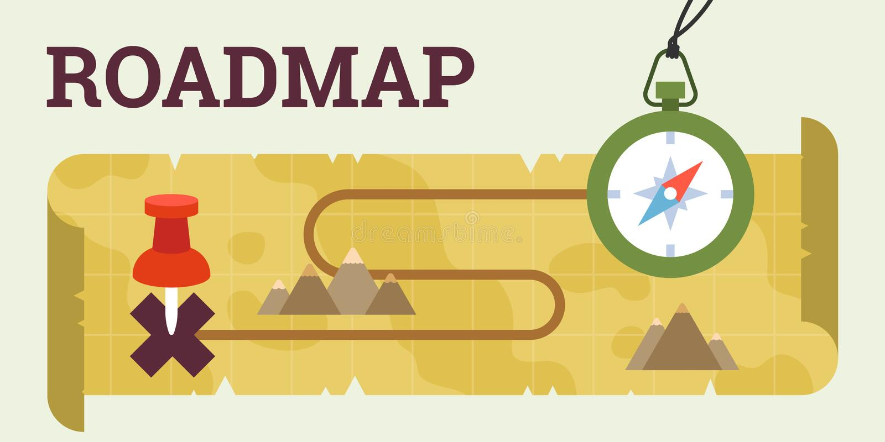 Wegenkaart met kompas en kaart stock illustratie