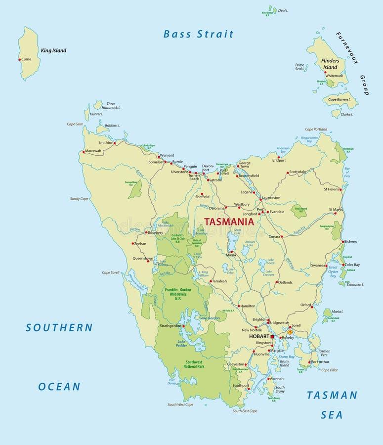Wegenkaart van Australisch IJsland Tasmanige vector illustratie