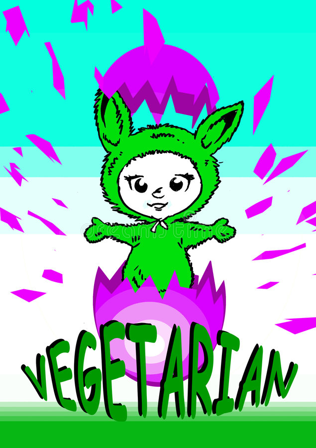 wegetarianin weganinu wielkanoc serii royalty ilustracja