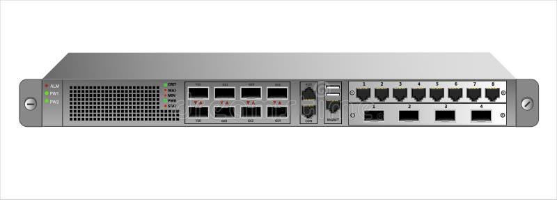 Wegewahl IP-Verkehr für die Befestigung mit einem 19-Zoll-Gestell Zwei zusätzliche Module mit Verbindungsstücken RG-45 und optisc lizenzfreie abbildung