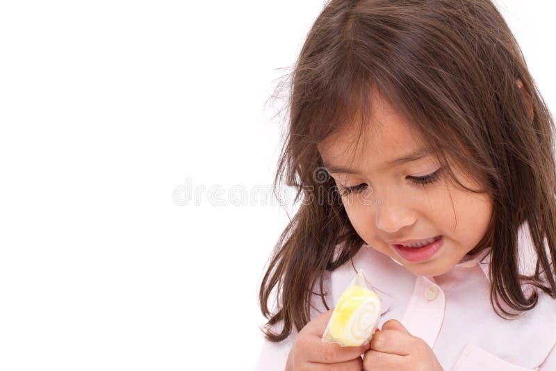 Weggegaan meisje met haar gelei of gelatinerende suiker stock foto's