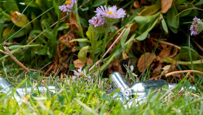 Weggeworfene Lachgaskanister/Sahneladegeräte im Gras: Metallphiolen, die Stickstoff-Monoxid Gas, benutzt als legales Hoch enthalt stockfotografie