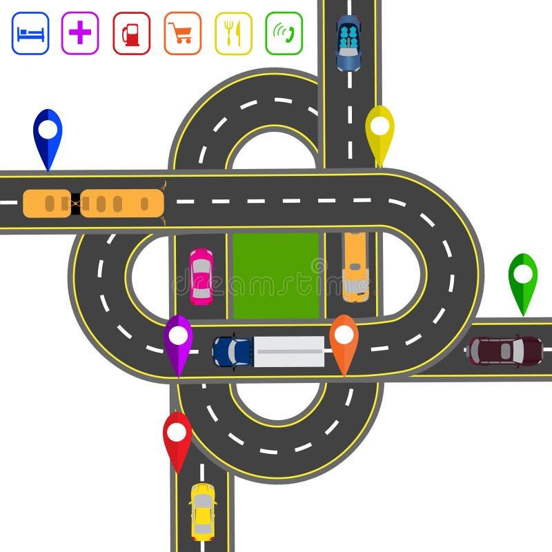 Weginfographics Genoteerd op diverse objecten kaart Abstracte vervoershub De kruisingen van diverse wegen royalty-vrije illustratie