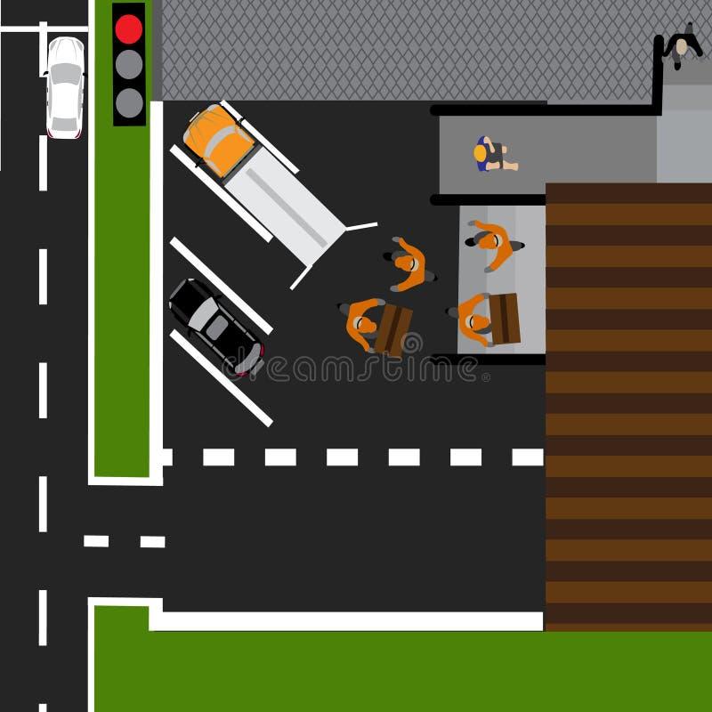 Weginfographics Getoonde die goederen in de opslag worden leeggemaakt Weg, auto's, levering stock illustratie