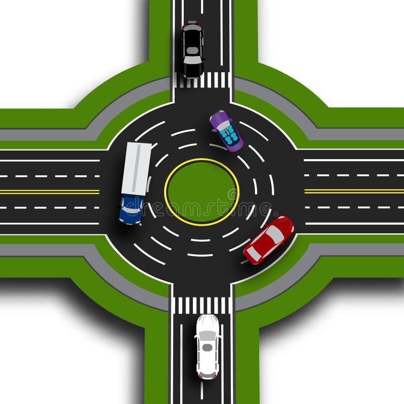 Weginfographics Hoogste menings 3d perspectief Weguitwisseling, rotondes Dit toont de beweging van auto's sidewalks stock illustratie
