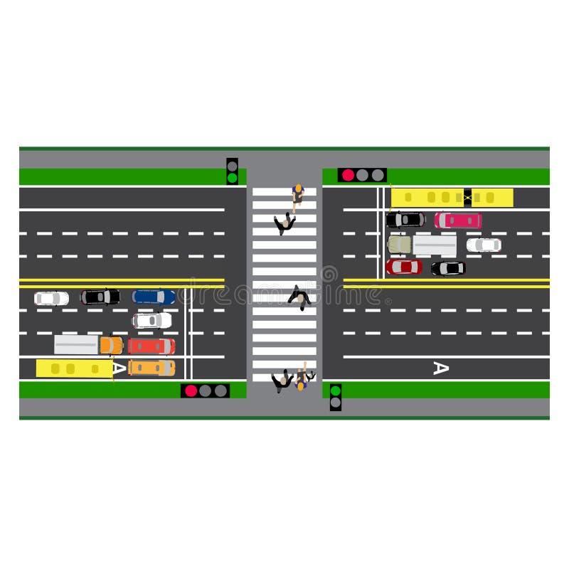 Weginfographics Perceelweg, weg, straat kruising Met verschillende auto's stock illustratie