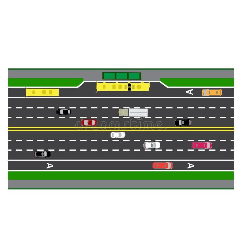 Weginfographics Perceelweg, weg, straat met de bushalte Met verschillende auto's vector illustratie