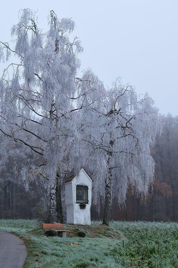 Wegkantheiligdom door vorst behandelde berkbomen die wordt omringd royalty-vrije stock foto's