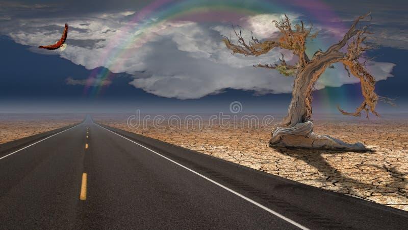 Weglood in woestijn stock illustratie