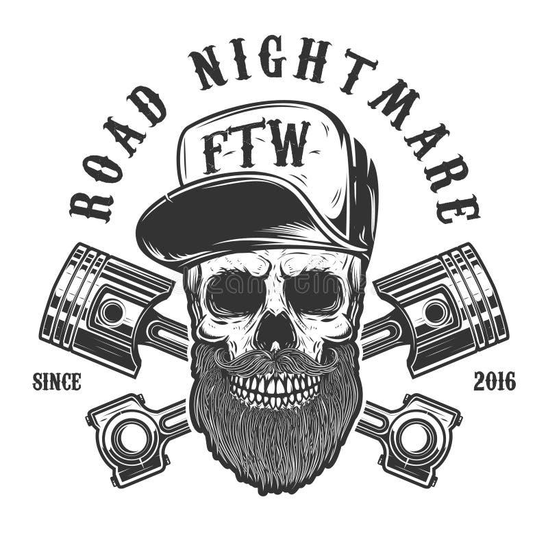 Wegnachtmerrie Hipsterschedel in honkbal GLB met gekruiste zuigers Ontwerpelement voor embleem, etiket, embleem, teken, affiche,  royalty-vrije illustratie