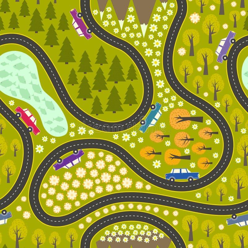 Wegpatroon met auto's stock illustratie