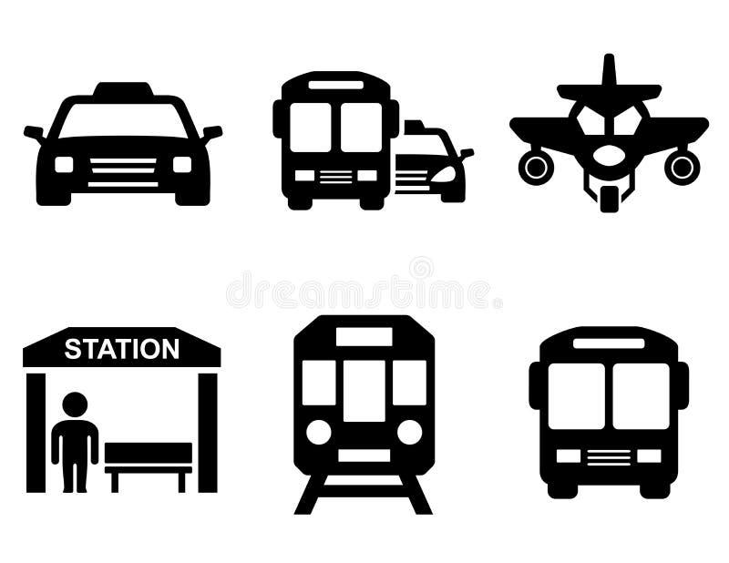 Wegpictogrammen met vervoersilhouet stock illustratie