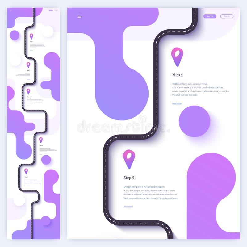 Wegreis en de homepageconcept van de reisroute Minimaal landend paginamalplaatje Vlakke vector Eps 10 royalty-vrije illustratie