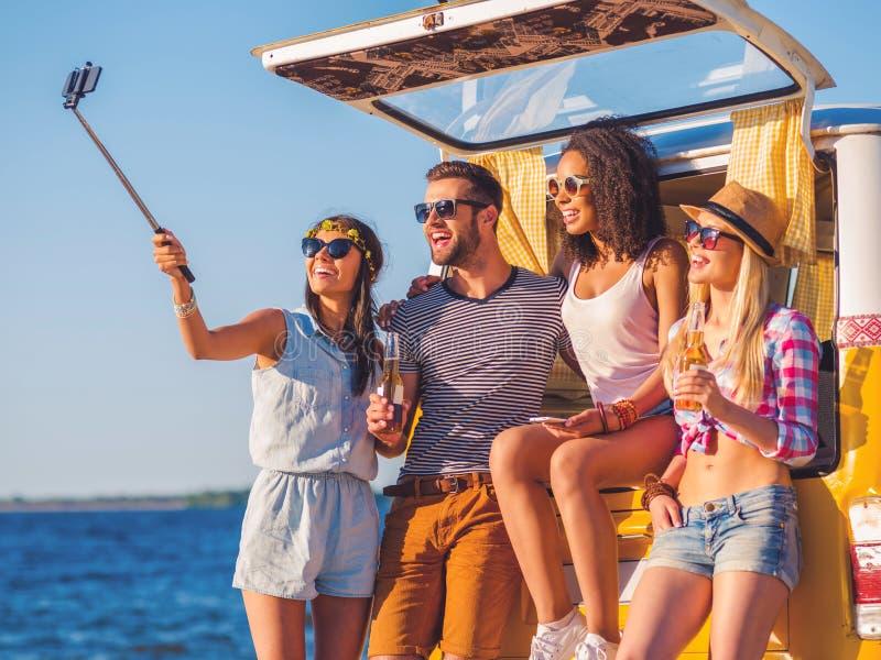 Wegreis selfie royalty-vrije stock foto's