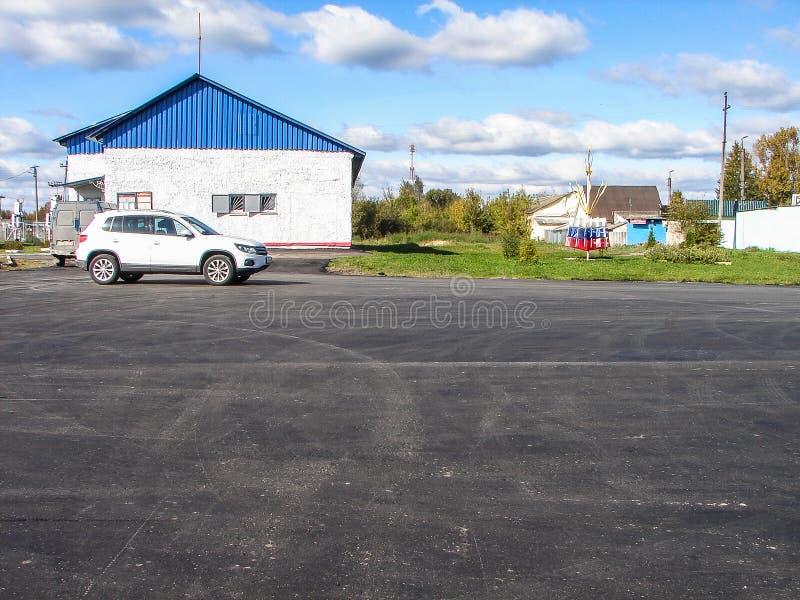 Wegreparaties in het Kaluga-gebied in Rusland royalty-vrije stock afbeelding