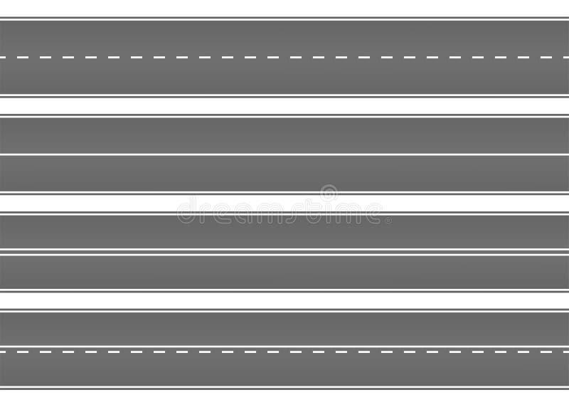 Wegstraat met asfalt Weg, speedwaybaan, manier voor vervoer Geïsoleerdee vectorillustratie royalty-vrije illustratie