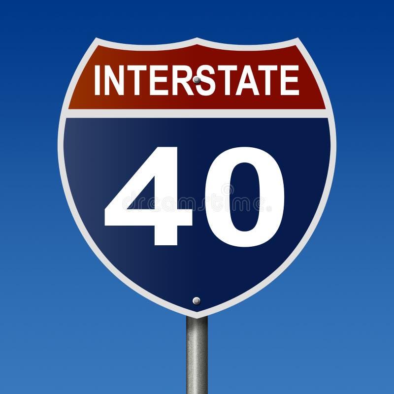 Wegteken voor Route Tusen staten 40 vector illustratie
